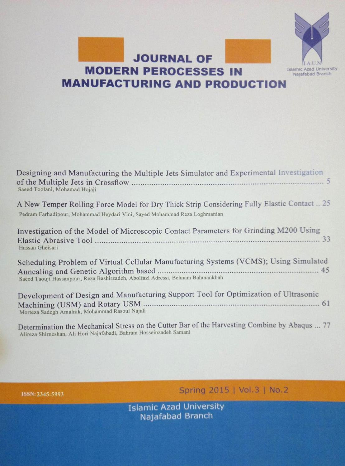 Journal of Modern Processes of Manufacturing Engineering